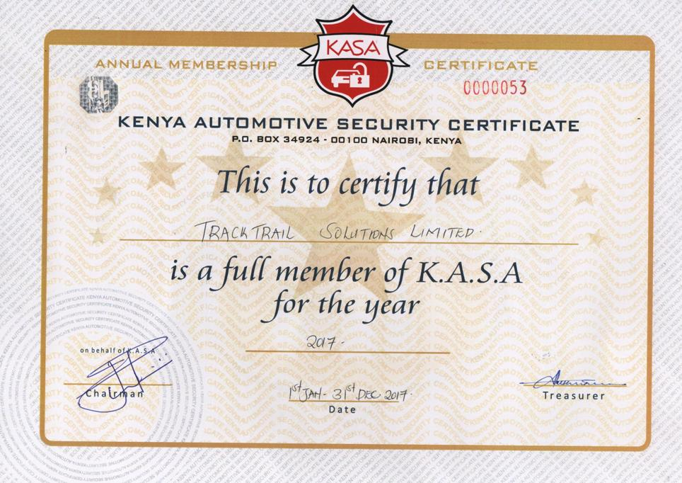 Track Trail Solutions Limited KASA Membership Certification 00005353